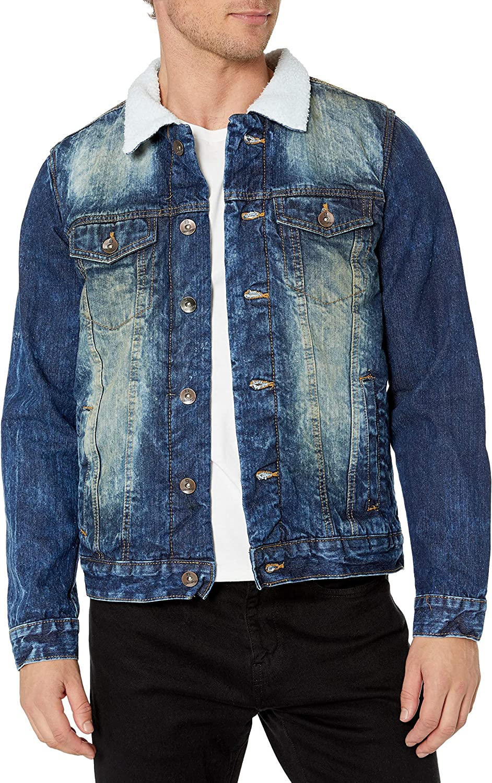 Southpole Mens Premium Fashion Denim Jacket X-Large Dark Vintage Sherpa