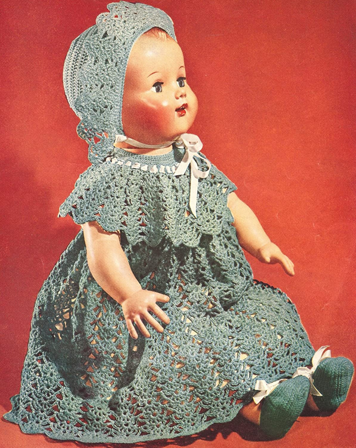 Vintage Crochet PATTERN to make - Baby Doll Dress Hat Shoes 22 16-in. NOT a  finished item 290ccdc9d7c