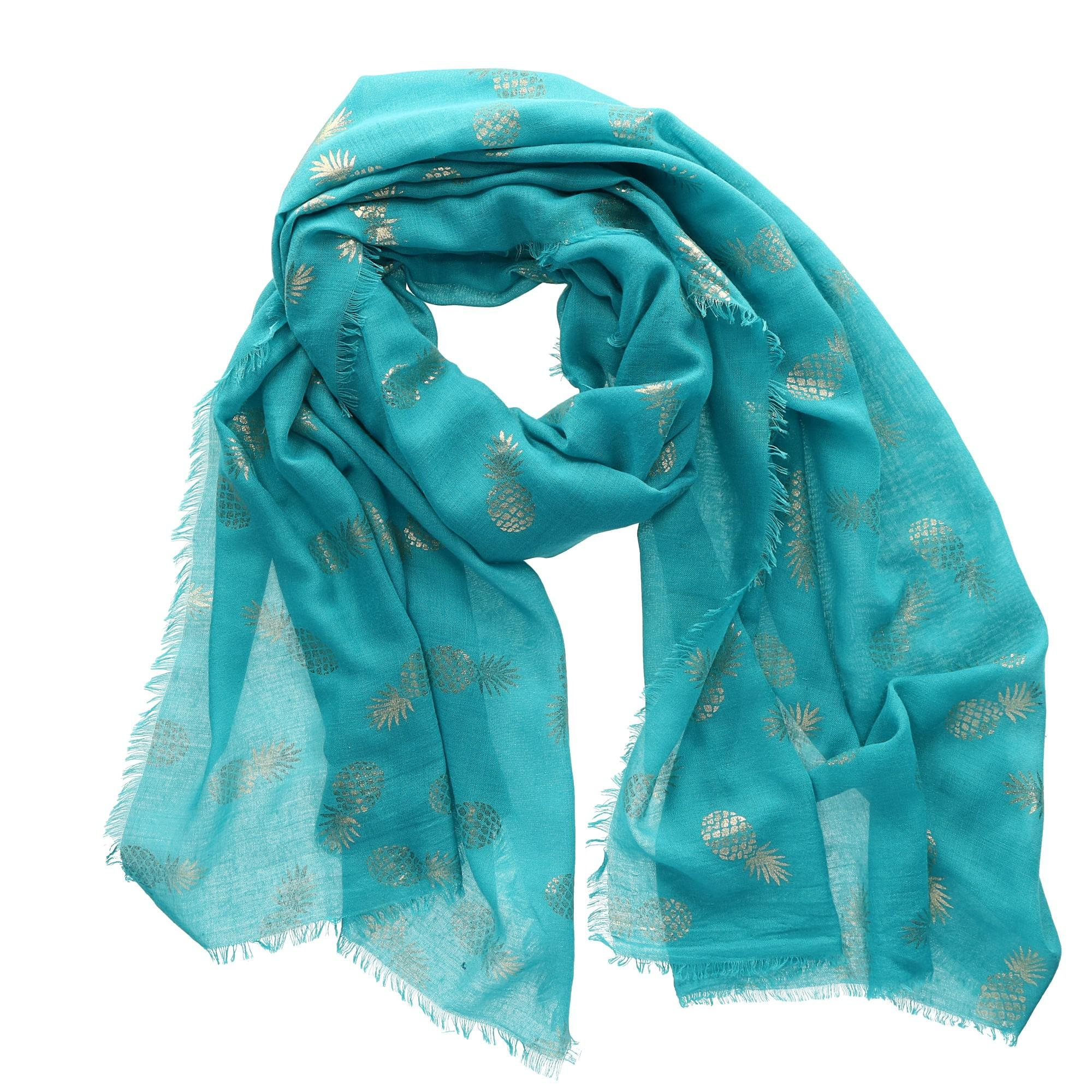 CTM Women's Foil Pineapple Print Scarf, Turquoise