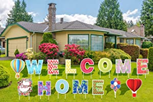 TUBAGOU 2021 Welcome Home Yard Signs with Stakes Support Custom Themes – Welcome Back Home Yard Sign Outdoor Lawn Decorations - Set of 15