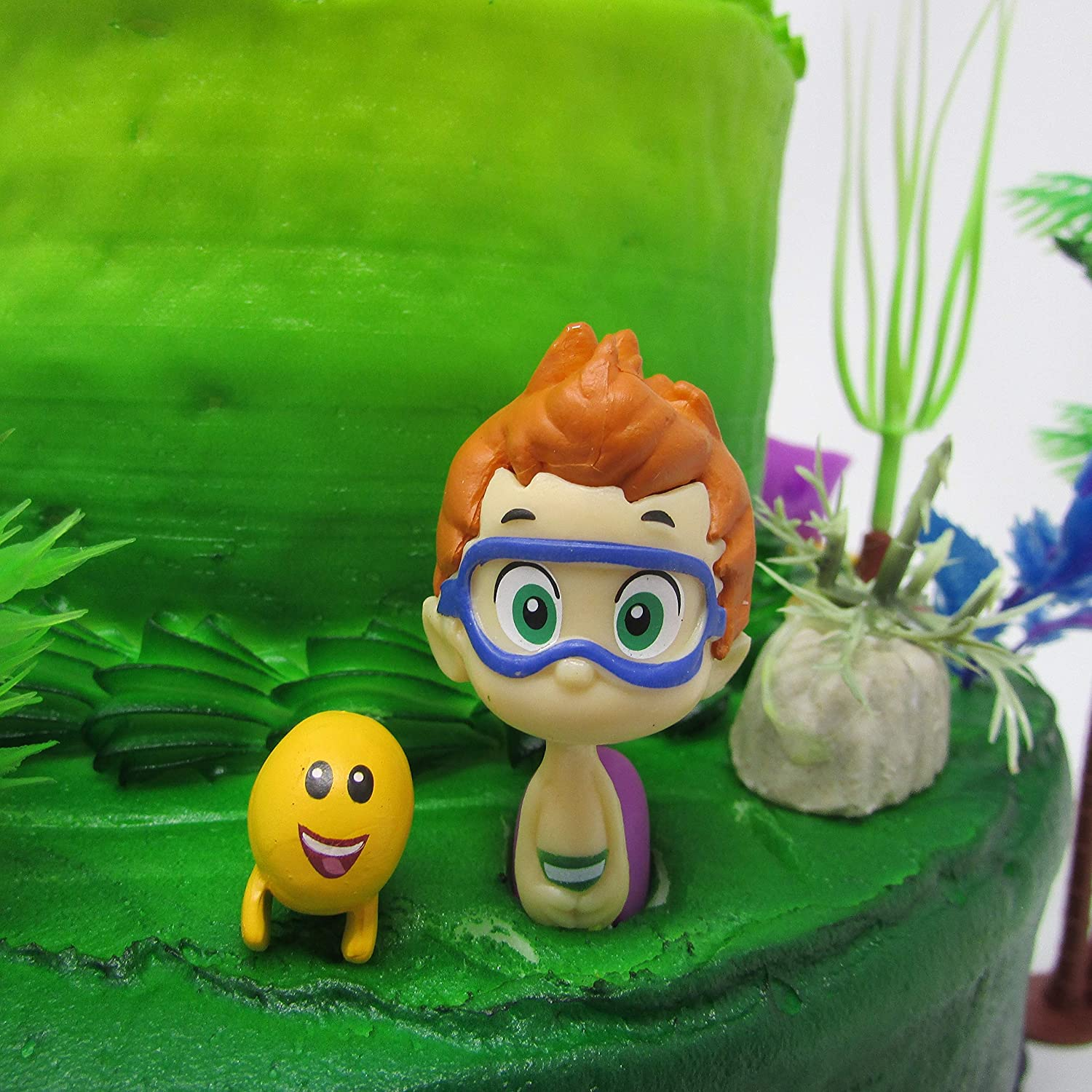 Bubble Guppies Birthday Cake Topper Set Featuring Figures and Decorative Themed Accessories