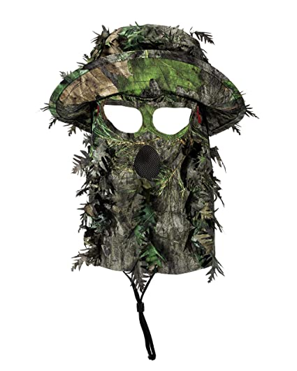 ddcd3c0c06f QuikCamo Mossy Oak Obsession Camouflage 3D Leafy Bucket Hat Hunting Face  Mask Combination (58cm