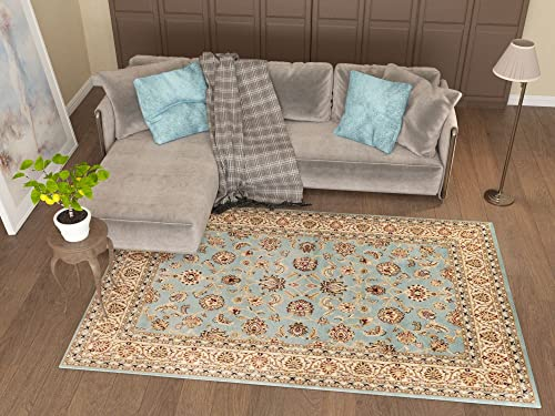 Antique Classic Light Blue 7'10″ x 9'10″ Area Rug Oriental Floral Motif Detailed Classic Pattern Persian Living Dining Room Bedroom Hallway Home Office Carpet Easy Clean Traditional Soft Plush Quality