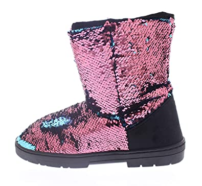 43bdd2f037a Womens Sparkle Boots with Reversible Sequin,Winter Boot for Women,Short Mid  Calf