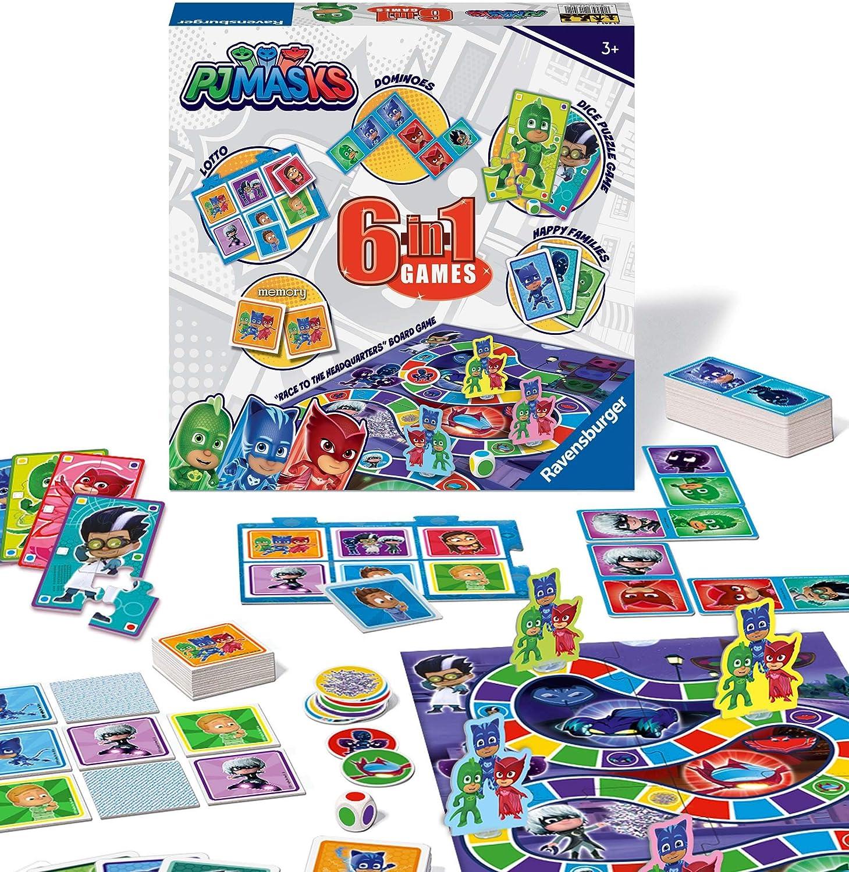 Ravensburger PJ Masks - Compendio de Juegos 6 en 1 para niños y familias de 3 años en adelante, Bingo, dominó, Serpientes y escaleras, Damas, Cartas ...