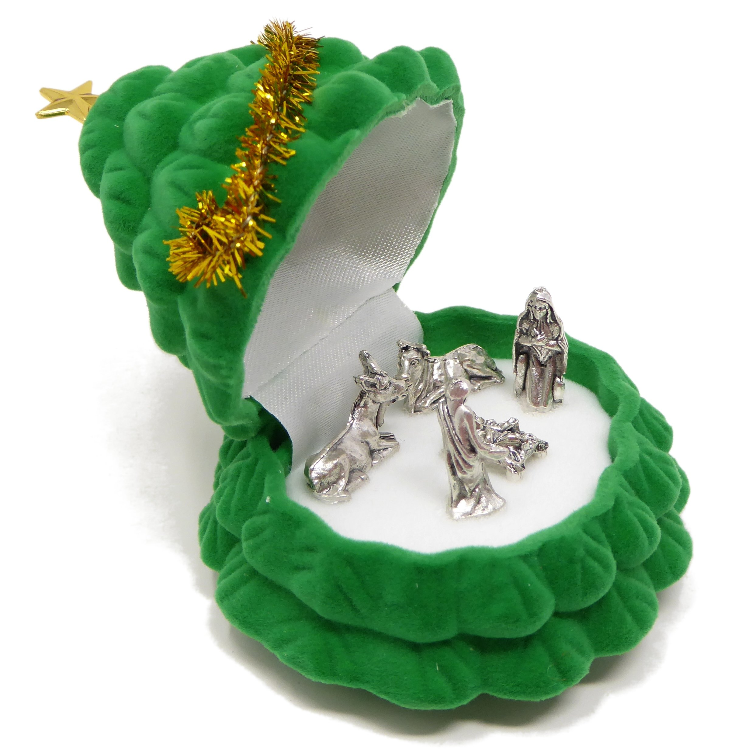 Rosary Heaven Pocket crib nativity scene in a Christmas tree gift box small 6cm Christian with window sticker by Rosary Heaven (Image #2)