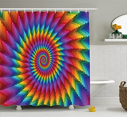 Amazon.com: Ambesonne Trippy Shower Curtain, Psychedelic Rainbow ...