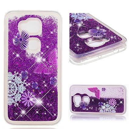 Leton Funda Huawei G8 Líquido Silicona Carcasa Huawei G8/GX8 Glitter Bling Arena Movediza Antigolpe Case Suave Flexible Transparente TPU Cubierta Caja ...