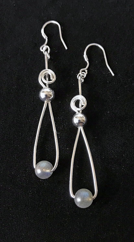 a215f02f4 Amazon.com: .925 Sterling Silver and Labradorite Teardrop Spiral Earrings:  Handmade
