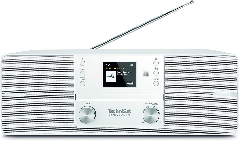 Technisat Digitradio 371 Cd Bt Stereo Digitalradio Dab Ukw Cd Player Bluetooth Farbdisplay Usb Aux Kopfhöreranschluss Kompaktanlage Wecker 10 Watt Fernbedienung Weiß Heimkino Tv Video