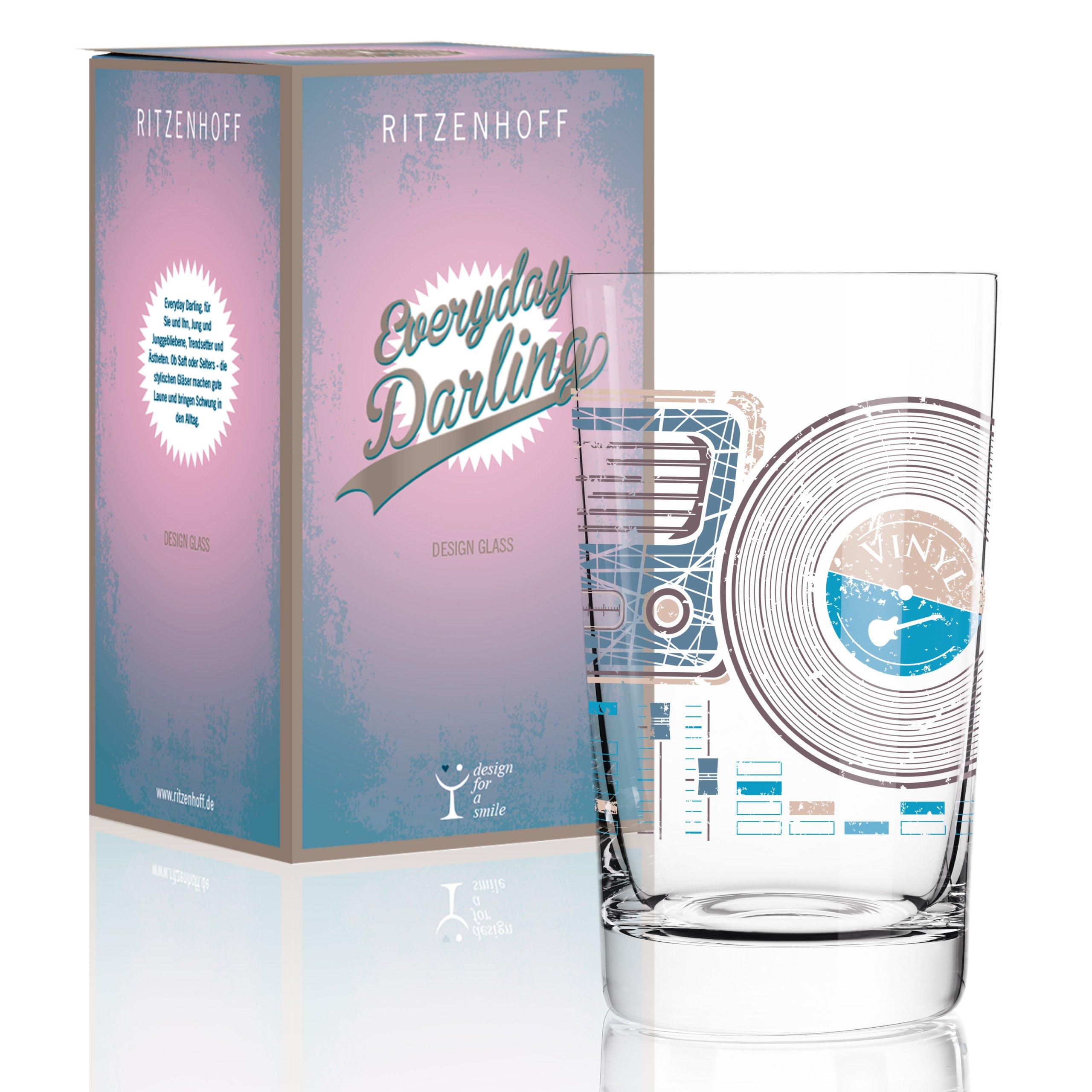 Ritzenhoff Everyday Darling Softdrinkglas, Crystal, Braun/grau/Petrol, 7.3 x 7.3 x 12.7 cm