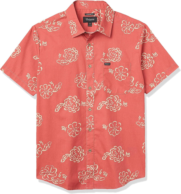 Brixton - Camisa de manga corta para hombre, color rojo Lava Red L: Amazon.es: Ropa y accesorios