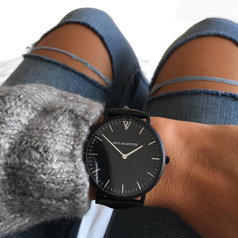 Paul Valentine Reloj de pulsera | feliz Blach Leather | Mujer Reloj con elegante diseño & atemporal y de piel italiana de pulsera: Amazon.es: Relojes