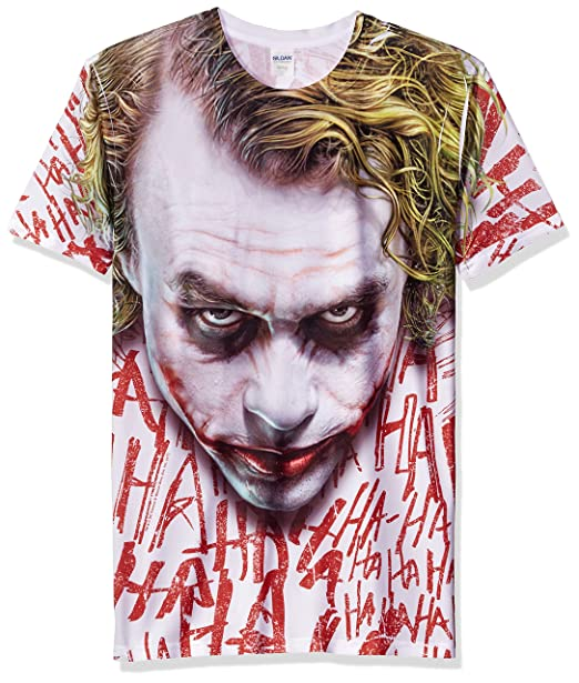 Trevco Men s Batman Dark Knight Joker Face Sublimated T-Shirt  Amazon.in   Clothing   Accessories 085d7be1a