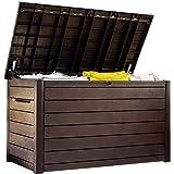 Keter Ontario Huge Plastic Waterproof Wood Look 870 litre Garden Storage Box With Piston Opening Lid Brand New Design