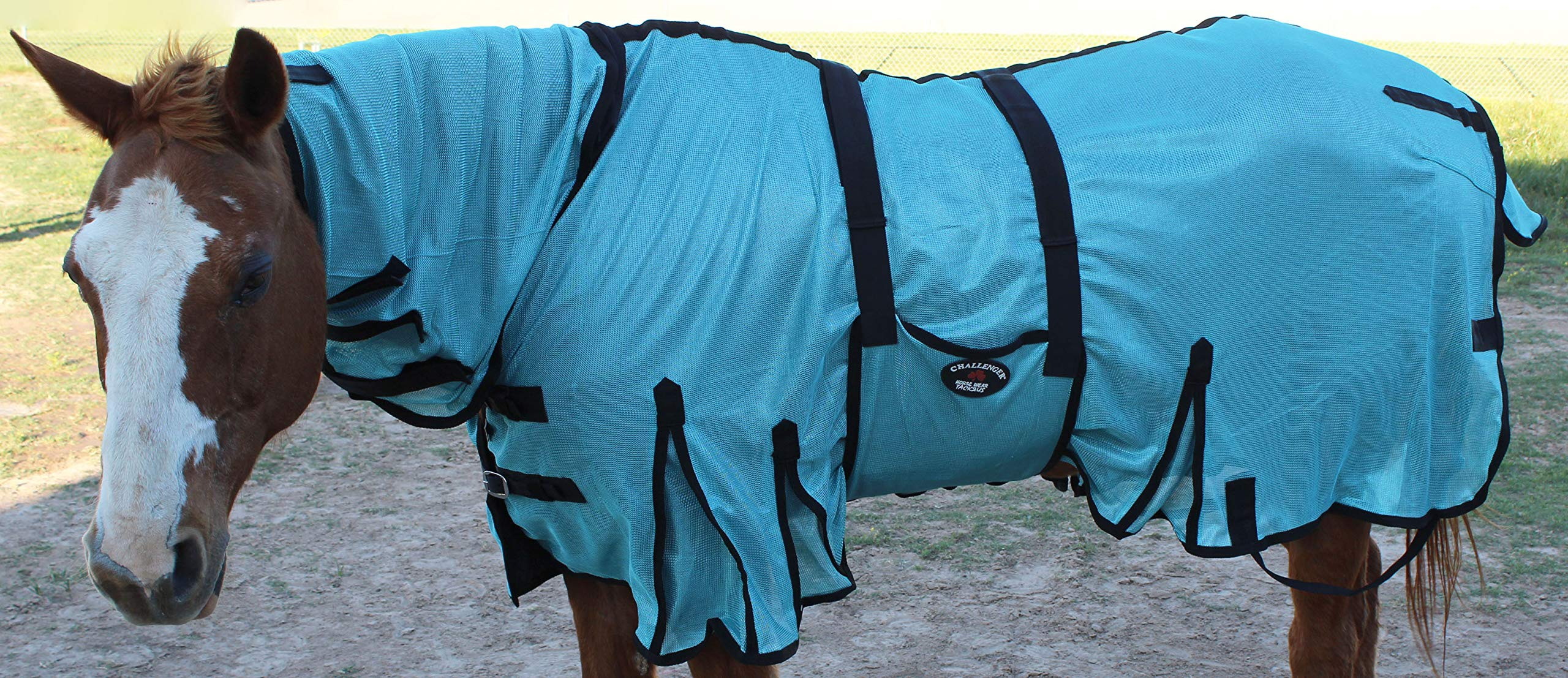CHALLENGER 68'' Horse Bug Mosquito Fly Sheet Summer Spring Airflow Mesh UV Neck 73101