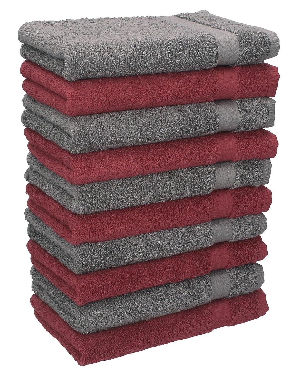 Betz. Set di 10 lavette misura 30 x 30 cm 100 % cotone Premium colore rosso scuro e grigio antracite