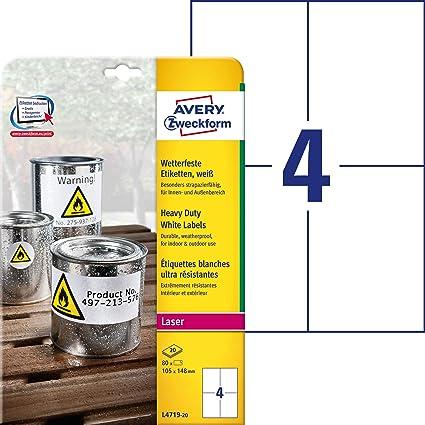 Avery España L4719-20 - Pack de 20 hojas de etiquetas para seguridad, 105 x 148 mm, color blanco: Amazon.es: Oficina y papelería