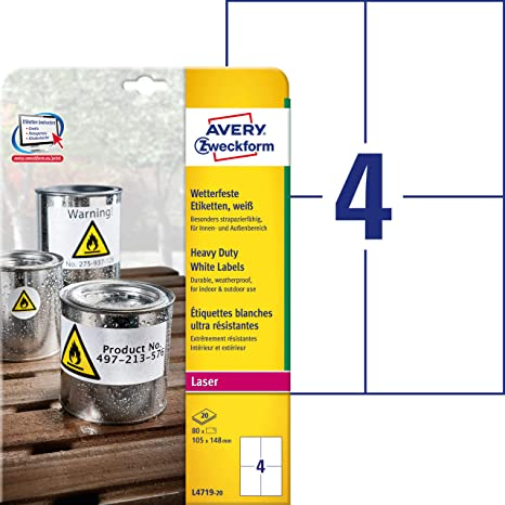 Amazon com : Avery Zweckform A4 L4719 Outdoor Film Labels/80