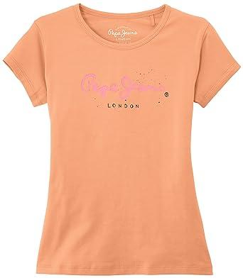 4e6a67ae77c38 Pepe Jeans Acacia - T-Shirt - Uni - Manches Courtes - Fille - Orange ...