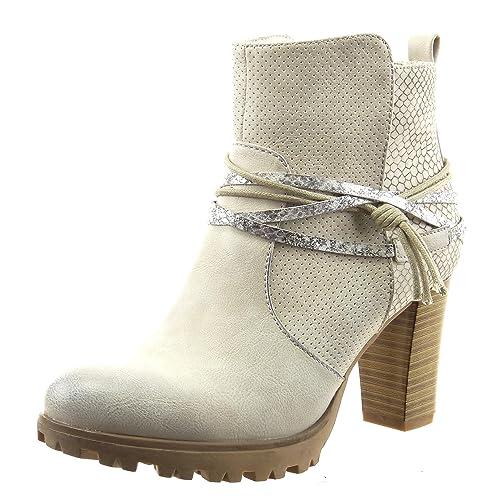 Sopily - Zapatillas de Moda Botines Tobillo mujer piel de serpiente tanga metálico Talón Tacón ancho alto 8 CM - Gris FRF-12-F592 T 40: Amazon.es: Zapatos y ...