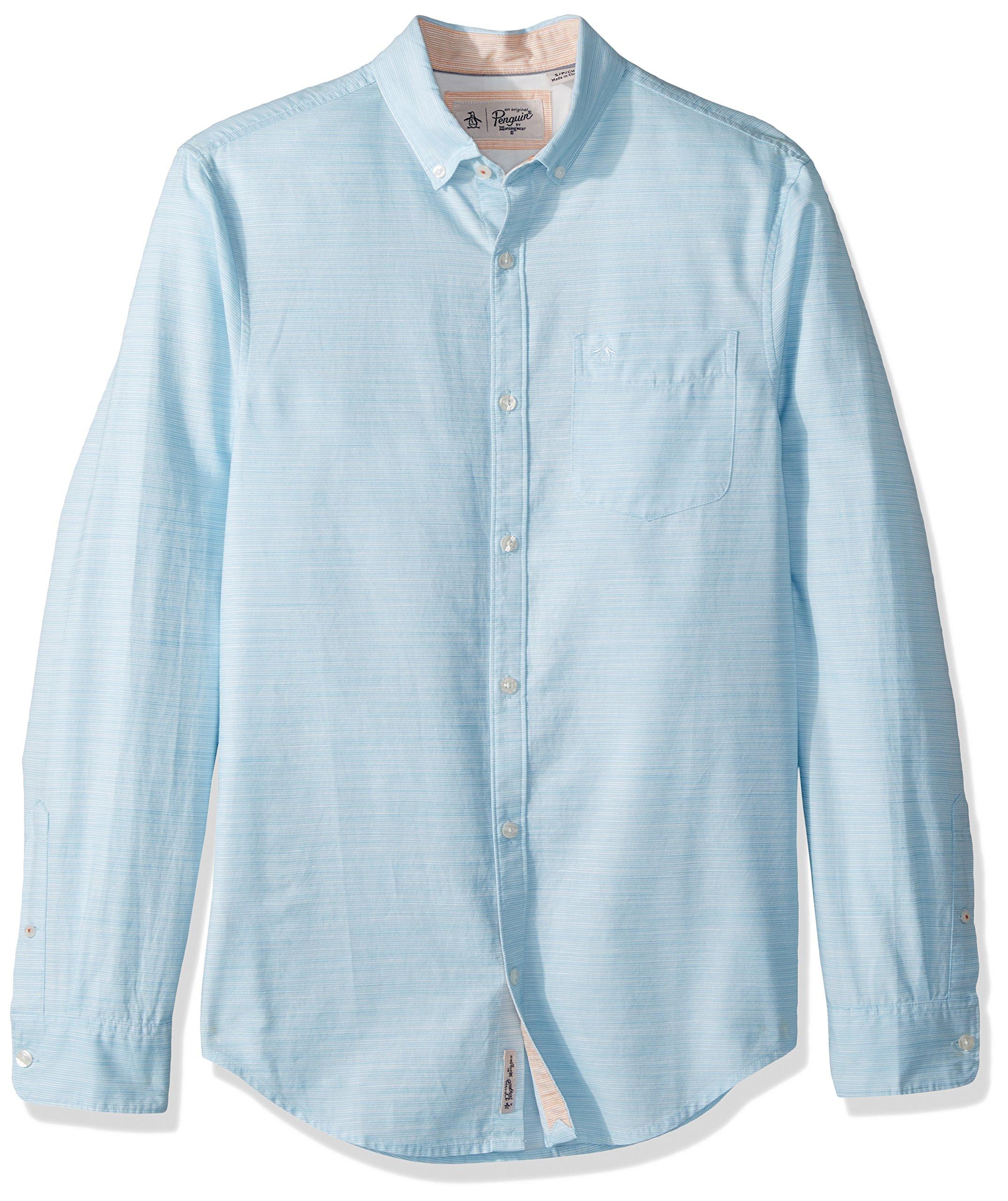 Original Penguin Men's Long Sleeve Mini Stripe Cotton Linen, Blue Topaz, Extra Large