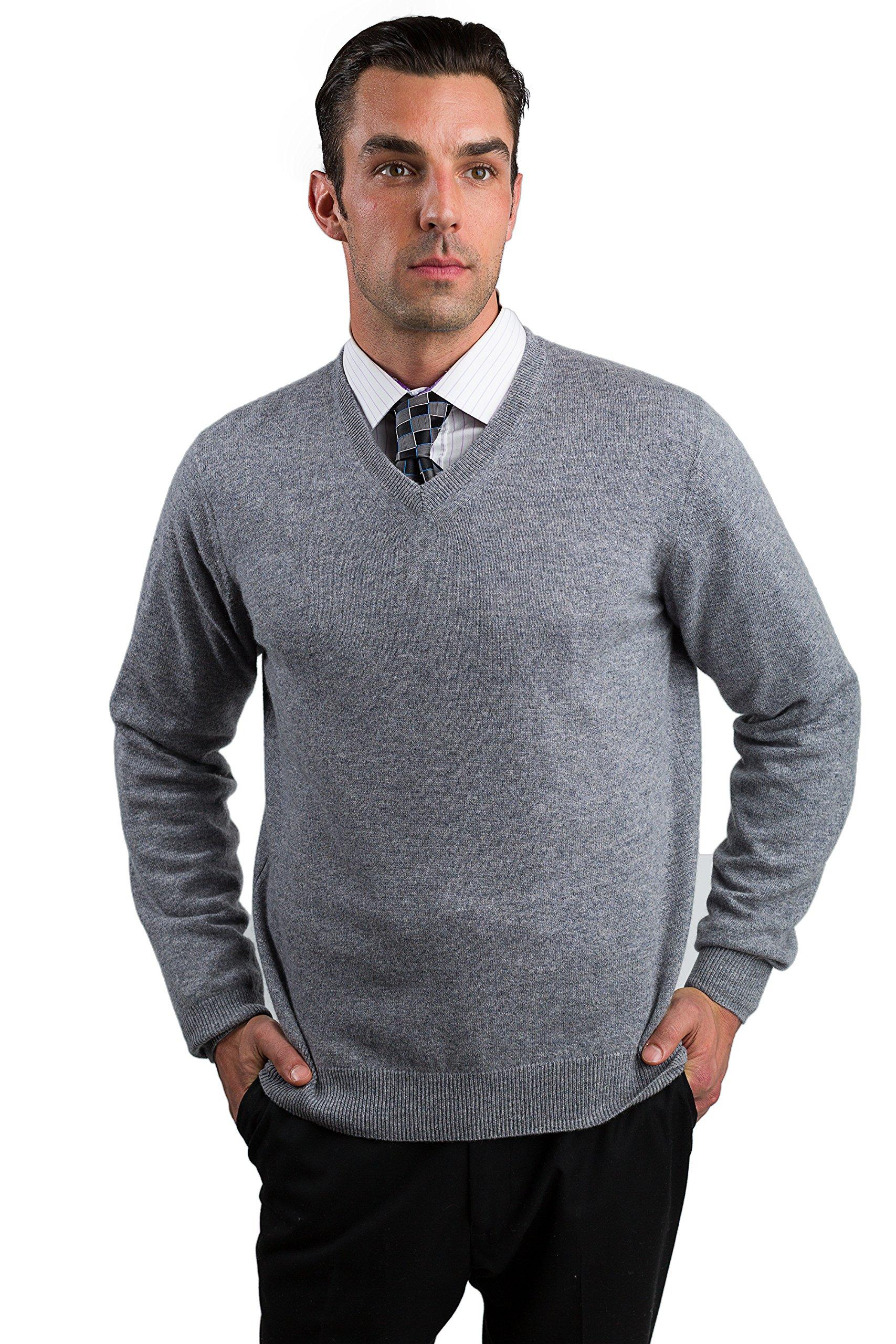 JENNIE LIU Men's 100% Pure Cashmere Long Sleeve Pullover V Neck Sweater (L, Grey) by JENNIE LIU