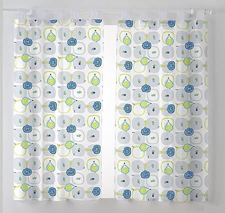 Martina Home Cebollas Pack de Cortinas Visillo para Cocina, Tela, Azul, 100 x 140 cm, 2 Unidades: Amazon.es: Hogar