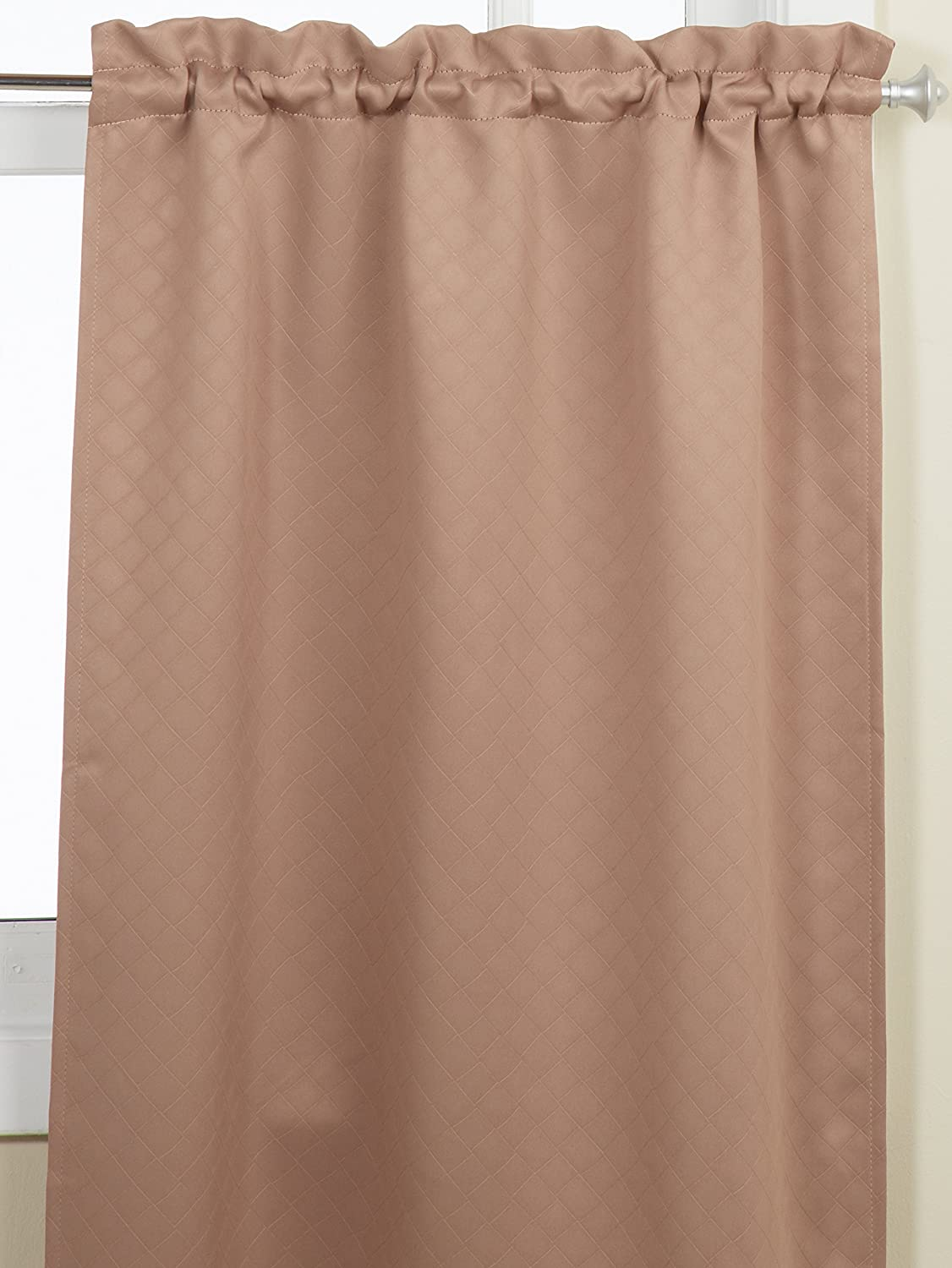 Chocolate Lorraine Home Fashions Facets Room Darkening Blackout Tier Curtain Pair 55 by 36-Inch