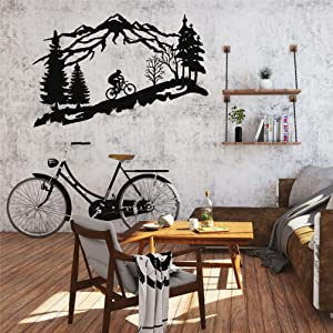 "Metal Biker Wall Art, Mountain Tree and Cyclist Themed Wall Art, Metal Wall Decor, Bicycle Lover Gift, Home Decoration, Wall Hangings (30""W x 19""H / 75x48 cm)"