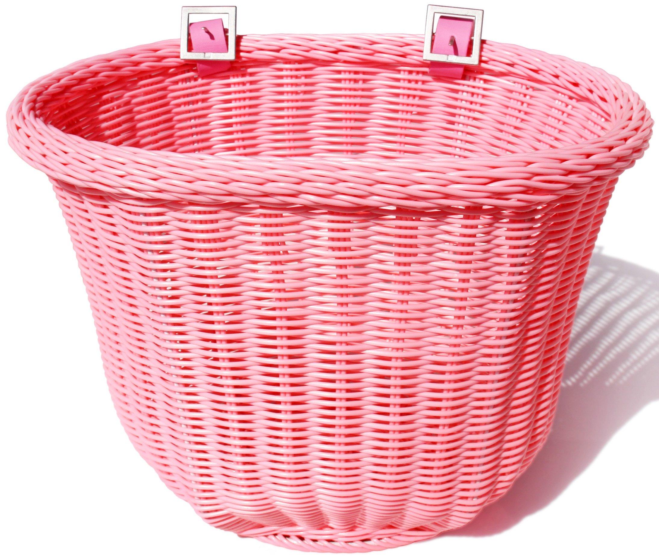 Colorbasket 01310 Front Handle Bar Adult Bike Basket, Water Resistant, Leather Straps, Pink