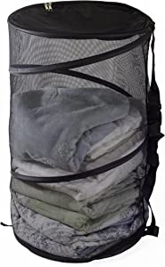 Maypes Collapsible Wire Mesh Laundry Hamper – Portable, Durable Pop-Up Laundry Basket & Storage Bag + Straps, Zippered Top Cover – Tall, Multi-Purpose Organizer for Closet, Toy, Garage, Sporting Goods