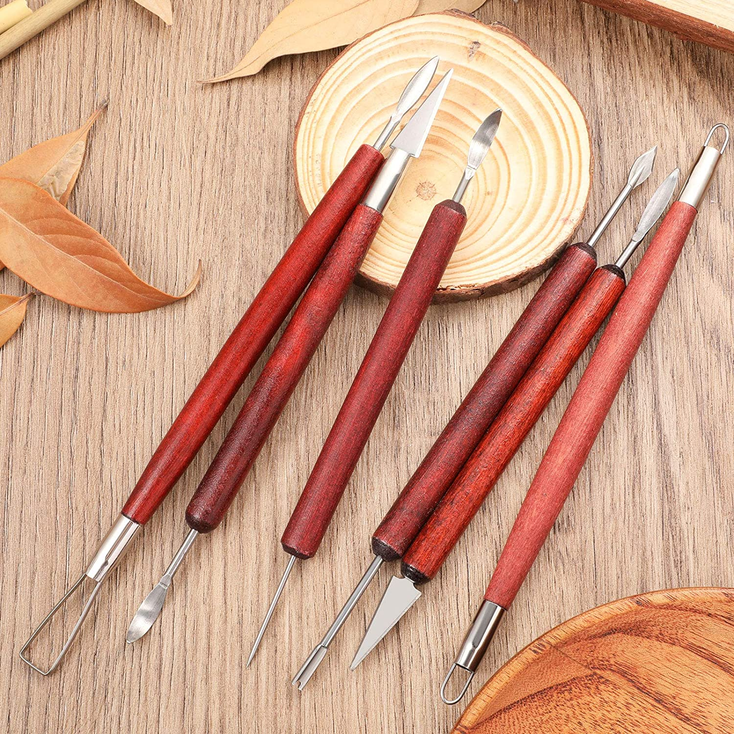 6 Pieces Clay Sculpture Tools Modeling Clay Tools Double-Sided Carving Tool Kit with Wooden Handle Felt Bag for Sculpture Clay Carving Pottery Carving