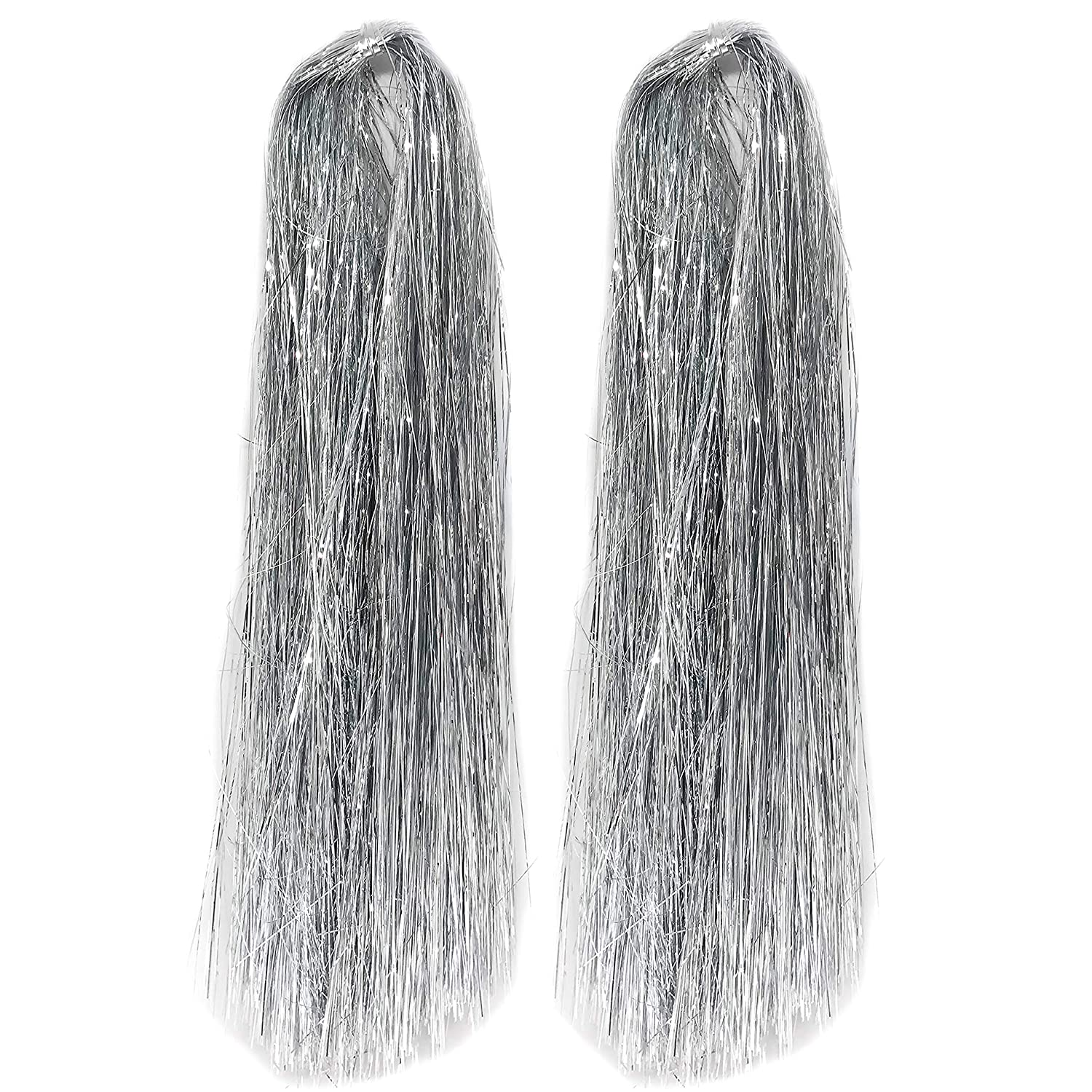 FLOMO Christmas Holiday Silver Tinsel Strands Metallic Icicles, 18 Inches (4000 Strands)