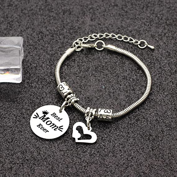Mother\u2019s Day Bracelet Best Mom Ever Leather Cord Bracelet