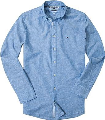 Tommy Hilfiger - Camisa para hombre azul celeste M: Amazon.es: Ropa y accesorios