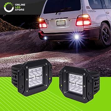 "Flush Mount Backup Reverse Front Rear Bumper Led Cube Pods Fog Light Bar 4/"" 12V"