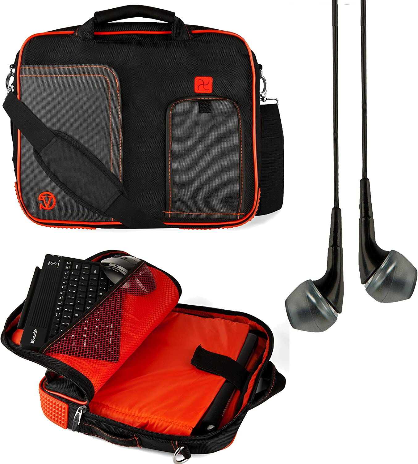 for Microsoft Surface RT 2 Flaming Red Pro 2 10 inch Tablets and Black Handsfree Headphones VG Pindar Edition Messenger Bag Carrying Case