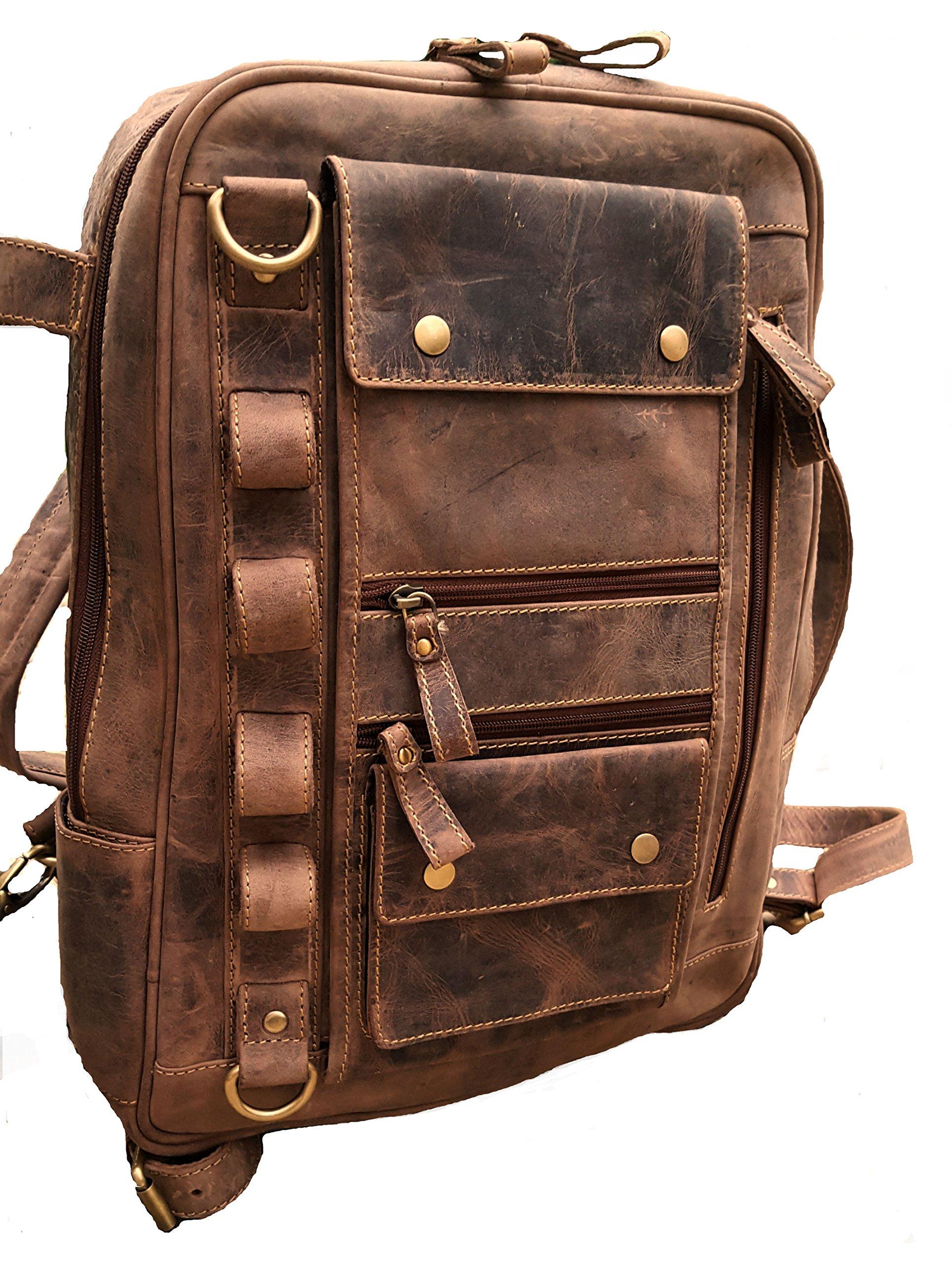 Real Leather Vintage Laptop Backpack Shoulder Bag Travel Bag Large Sports Rucksack