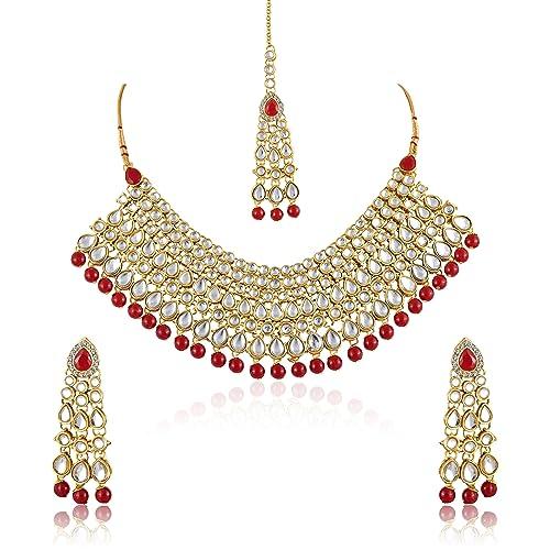 fb7b2e345b855 Meenaz Fashion Jewelry Gold Plated Kundan Pearl Ruby Stylish Fancy Party  Wear Wedding Maang Tikka Necklace Set Traditional Jewellery Set with  Earrings ...