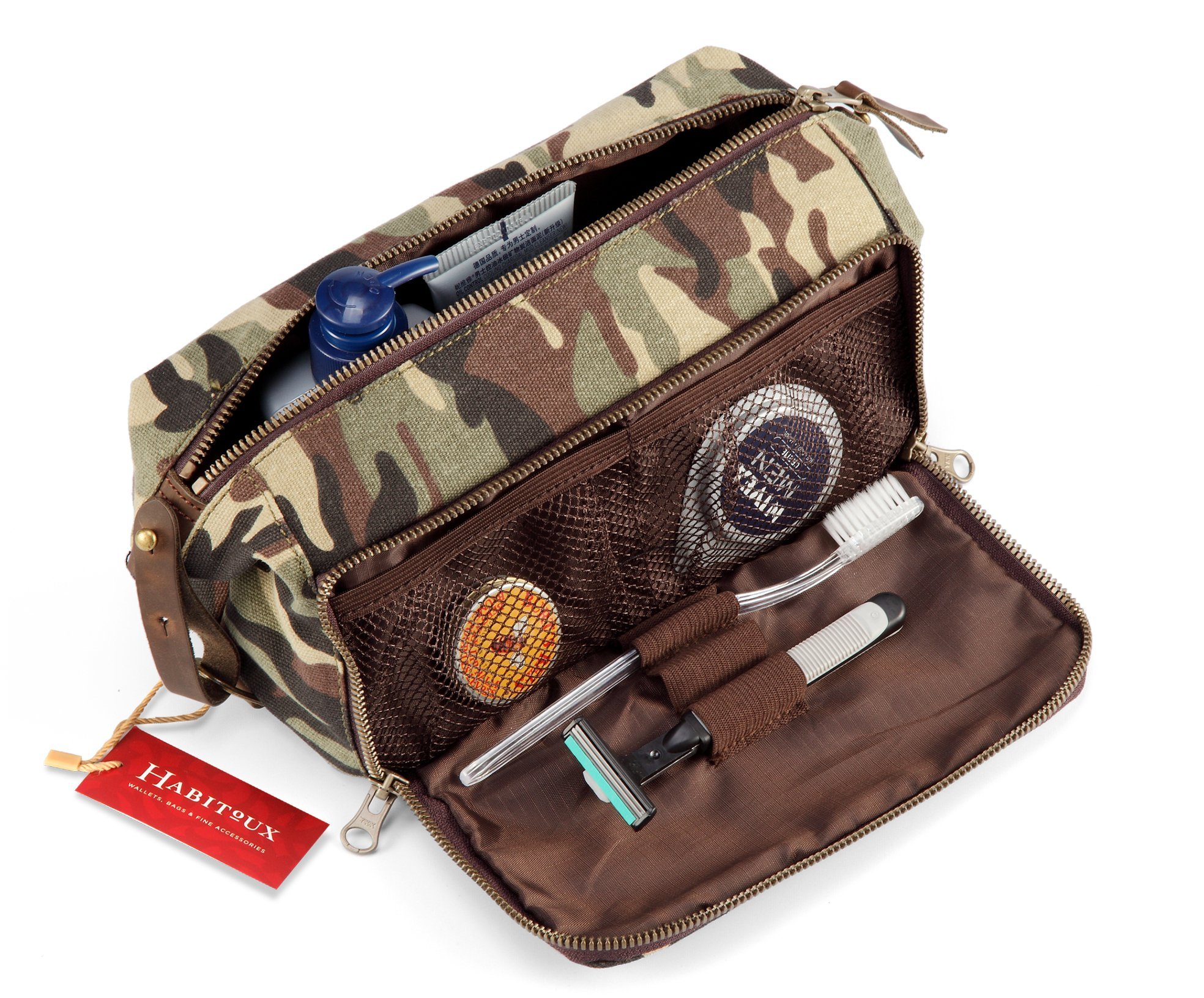 DOPP Kit Mens Toiletry Travel Bag YKK Zipper Canvas & Leather (Medium, Woodland Camo)