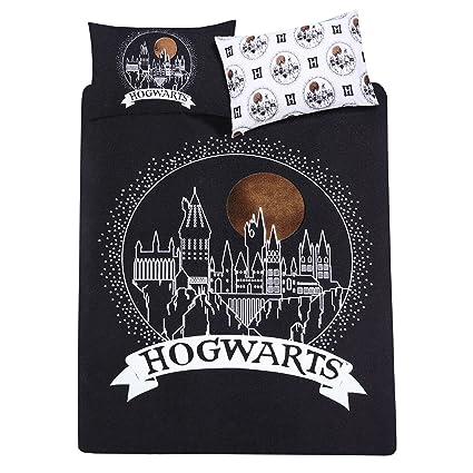 Harry Potter Hogwarts Housse De Couette Noire 2 Places Reversible