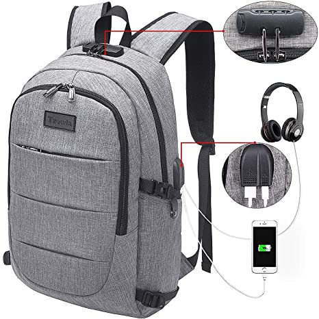 Tzowla Business Laptop Backpack Water Resistant Anti-Theft College Backpack  with USB Charging Port and 361744a724abe