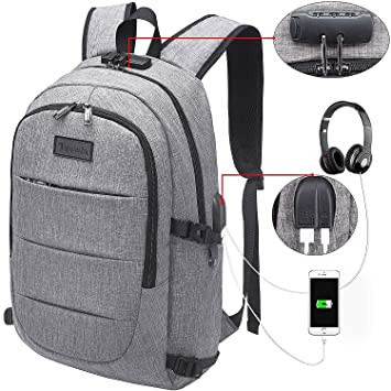 Tzowla Business Laptop Backpack Water Resistant Anti-Theft College Backpack  with USB Charging Port and 1bc4db0572