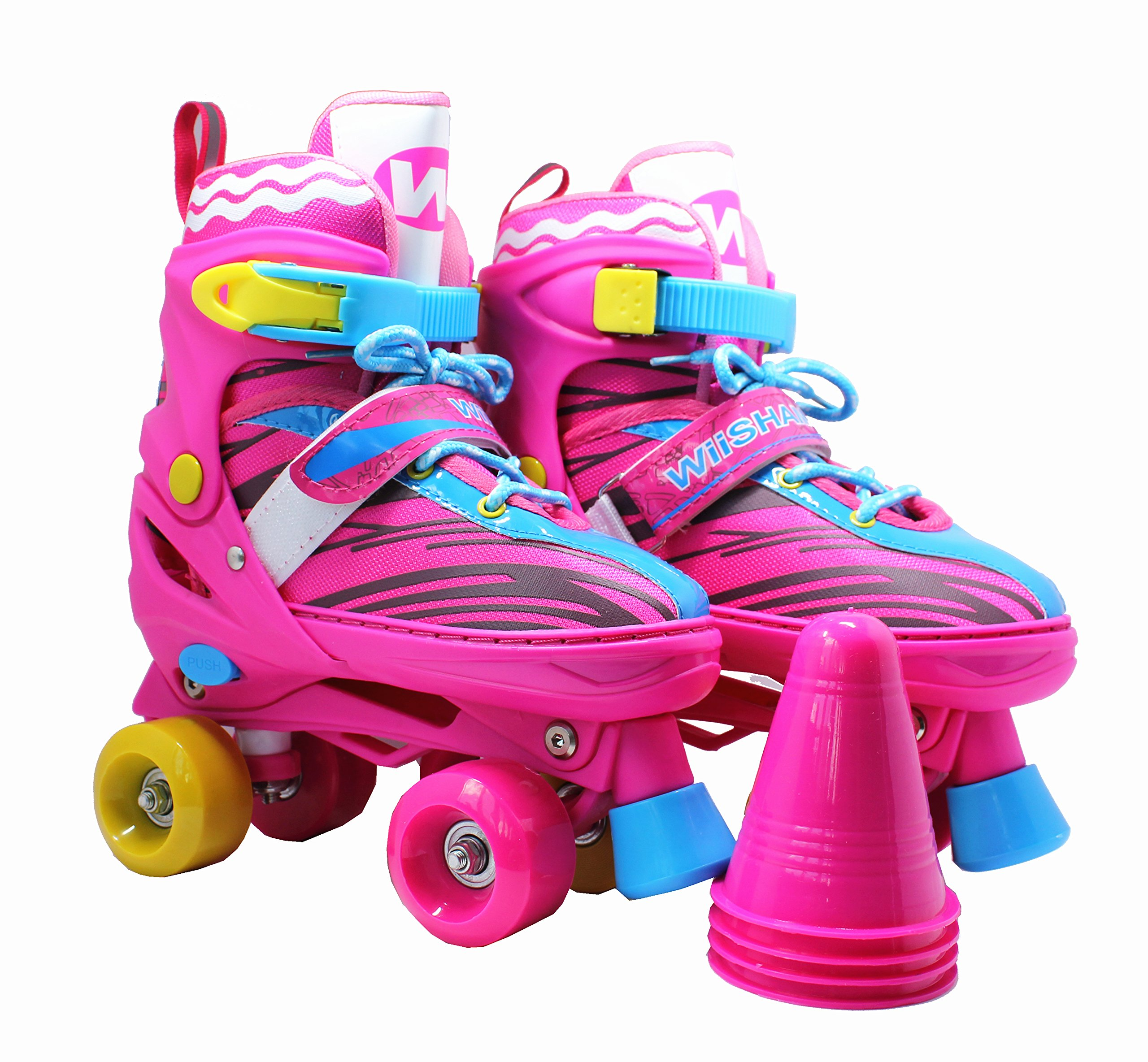 WiiSHAM Fun Roll Adjustable Canvas Roller Skates With Four Piles… (Pink and Yellow, medium)