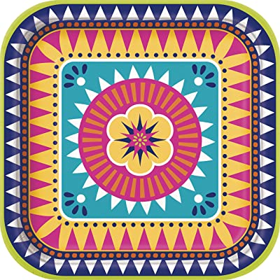 Boho Fiesta Square Dinner Party Plates, 8 Ct.: Toys & Games