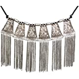 Sansar India Silver Oxidized Silver Plated Choker Necklace For Women