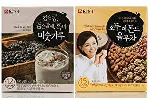 Damtuh Korean Roasted Black Grains Mixed Powder with Black Beans, Black Sesame Seeds, Black Rice, 12 Sticks + Walnut Almond Adlay Tea (Job's Tear) 15 Sticks