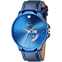 ZIERA ZR945 Blue Leather Strap Day & Date Watch - for Men