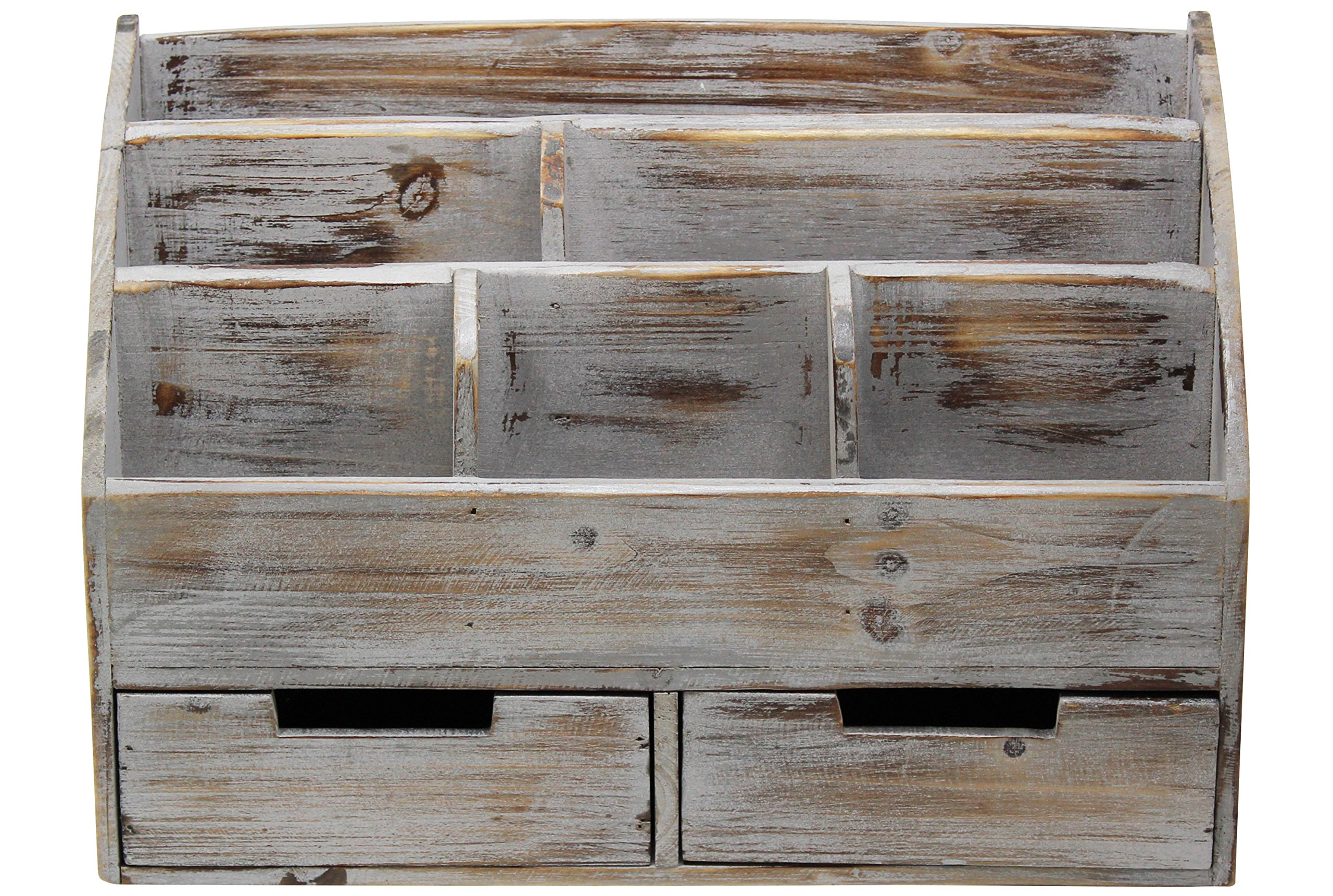 "Vintage Rustic Wooden Office Desk Organizer & Mail Rack for Desktop, Tabletop, or Counter - Distressed Torched Wood - for Office Supplies, Desk Accessories, Mail - MAKE AN IMPRESSION - Whether in Your Office or Kitchen, You Will Be Sure To Catch The Attention Of Your Visitors, Clients, or Boss With This Elegant Distressed Wood Organizer Caddy. TONS OF ROOM - With 6 Compartments and 2 Drawers, This Oversized Organizer Will Hold All of Your Desk Accessories, Mail, or Office Supplies. LARGE OVERALL DIMENSIONS - 14.3"" Wide x 6"" Deep x 9.8"" High - Leaves Plenty Of Room To Hold Letter and Legal Size Notebooks & Paper, Oversized Envelopes, And Many Other Home or Office Desk Supplies - living-room-decor, living-room, home-decor - 91moMY9RESL -"